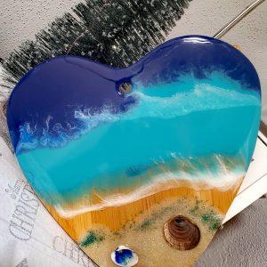 Epoxy Ocean Art auf Holz