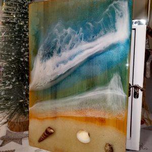 Epoxy Ocean Art auf Holz groß